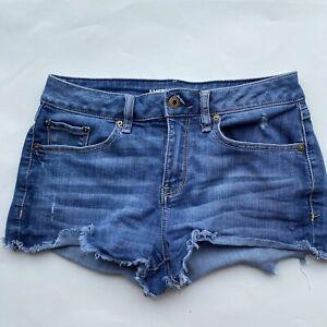 American Rag co Denim Cut off Blue Jean Short Shorts Size 3 Shredded cuff