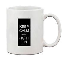 KEEP CALM AND FIGHT ON, BREAST CANCER RIBBON Ceramic Coffee Tea Mug Cup 11 Oz