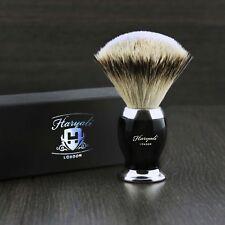 100% punta de plata pelo de tejón brocha de afeitar con base de color negro y metal.