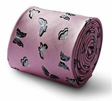 Frederick Thomas pink mens tie with silver butterfly design FT3331