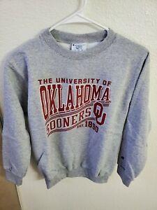 Champion NCAA Oklahoma Sooners Boys Fleece Crew YM(7/8) Gray Sweatshirt NWT