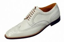 Handmade Mens Fashion Wingtip White Leather Formal Shoes, Men Dress shoes