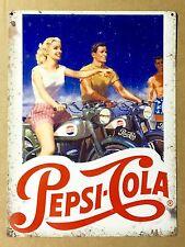 Pepsi Cola Motorcycles - Tin Metal Wall Sign