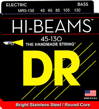 DR Strings MR5-130 HI-BEAM Stainless Steel Bass Guitar Strings, Round Core - Med