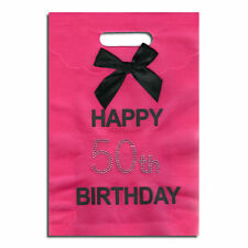 Happy 50th Birthday Gift Bag - Hot Pink (with Diamante 50th) NEW