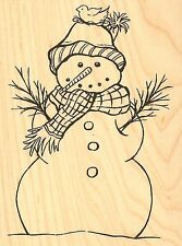WINTER SNOWMAN Wood Mounted Rubber Stamp IMPRESSION OBSESSION E16249 NEW