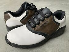 Boys Youth Junior FootJoy Golf Shoes Cleats Leather White Brown Black Saddle 3