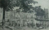 Original Old Antique Etching of Bruges, Le quai Long, Belgium.