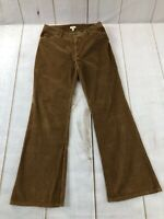 J Jill Womens Flat Front Regular Fit Bootcut Brown Corduroy Pants Size 10