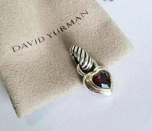 David Yurman RARE Thoroughbred 14K Gold and Red Garnet Heart Pendant - Stunning!