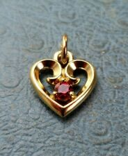 James Avery 14k Remembrance Heart Pendant Charm Ruby