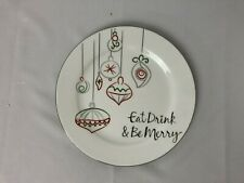 "Food Network Christmas Plate Eat Drink & Be Merry Dinner 10 1/2"""