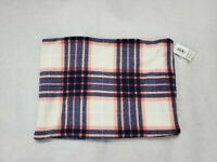 Old Navy Womens Winter Fleece Collar Plaid Blue White Pink Wrap Scarf Stole