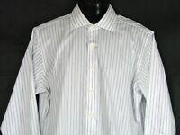 Brooks Brothers 346 Mens Non-Iron Cotton Shirt Sz 16.5 Blue Striped Slim Fit