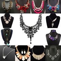 Fashion Women Crystal Choker Chunky Statement Chain Bib Necklace Pendant Jewelry