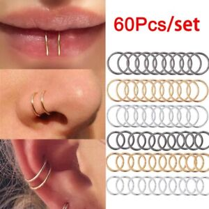 60 x Surgical Steel Nose Ring Septum Clicker Hinge Segment Ear Tragus Ring Hoop