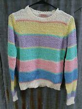 VTG 80s pastel rainbow knit sweater light stretch sz M kawaii fairy kei striped