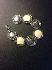 Vintage Estate Jewelry 7.5in By 1in Silver Tone & White Material Bracelet NICE