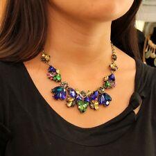Collar Multicolor Azul Verde ÁMBAR Cristal Moderno Original Noche QT 5