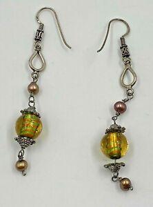 Hand Blown Glass Drop Dangle Earrings Iridescent Orange Green Clear w/Pink beads
