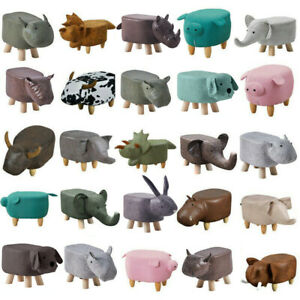 Animal Ottomans Footstools  Padded Cushion Pouffe Stool Rest Children Toy Gift