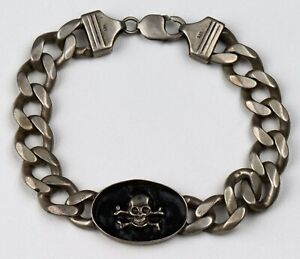 Skull BONEs Bracelet STERLING Silver 925 Massive 59.83 g MANs BRUTAL Style BIKER