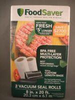 New FoodSaver 2 Pack of 8 in x 20 ft Rolls Vacuum Seal Custom Food Storage Bags