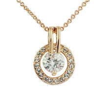 Fashion Jewelry - 18k Rose Gold Plated Round Crystal Necklace (FN068)