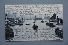 R&L Postcard: Busy Harbour Port Shipping Scene 1904 Netherlands Leiden Leyden