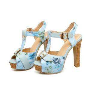 Us Sz 5.5-9 Ladies Floral Printed Faux Leather Platform High Heel Sandals Slingb