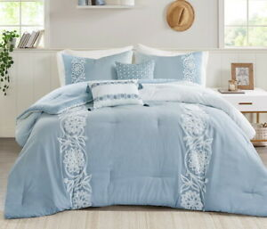 OMBRE BLUE LACE 5pc King COMFORTER SET : COTTON EMBROIDERED COTTAGE SHABBY