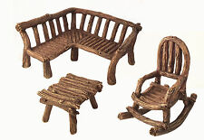 Miniature Fairy Garden Furniture 3-Piece: Rustic Bench, Rocking Chair and Table