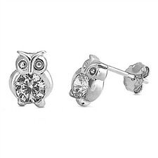 .925 Sterling Silver Wise Owl Clear CZ Fashion Stud Earrings NEW