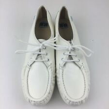 SAS Siesta Women 9.5 N White Leather Walking Shoes Oxford Lace Up Vintage