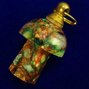 Green Sea Sediment Jasper Charm Essential Oil Diffuser Bottle Pendant F86804