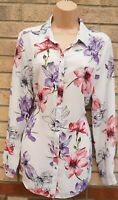 G21 IVORY WHITE PURPLE PINK FLORAL BUTTONED LONG SLEEVE T SHIRT BLOUSE TOP 16 XL
