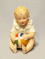 Antique Heubach Germany Hand Painted Bisque Baby Child Holding Ball Figurine