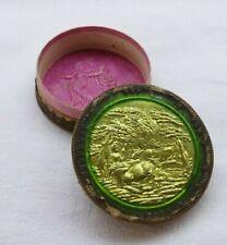 Antique pill / snuff box, 18th / 19th century paper mache, glass over gold foil