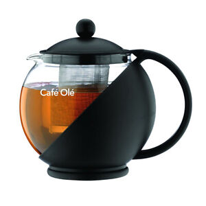 Cafe Ole Teapot with Infuser Black 1.2L Modern Tea Pot Brewing Infusing