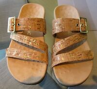 Vionic Orthotic Skylar Buckle Trim Adjustable Sandal Golden Cork Size 5 New