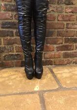 Plataforma señoras negro muy alto alto del muslo botas talla UK5 EU 38 encima de la rodilla