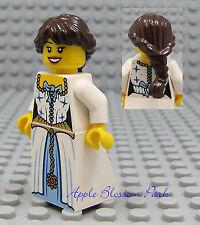 NEW Lego Pirates Brown Hair FEMALE MINIFIG White Blue Dress/Skirt Princess Girl