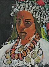 Signiert El Attar - Portrait einer Frau in Tracht datiert 91 arabisch ?
