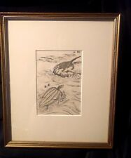 Orig JAPANESE WOODBLOCK PRINT Turtle and Weasel Signed