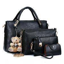 4 PCS Set Women Lady Leather Shoulder Bag Handbag Schoolbag Wallet