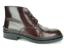 Tod's Ankle Boots Lace Up Brown Smooth Leather Pebble Sole Women's Sz 40, US 10