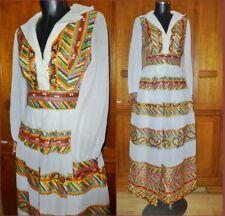 Vtg 70s Sheer Organza Mosaic Print Metallic Boho Hippie Wedding Maxi DRESS Gown
