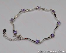 Beautiful Ladies 925 Stamped Sterling Silver Amethyst Bracelet