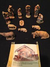 """Anri Kuolt Vintage Nativity Handcarved Wood 12 Pc Set 3"""" Figures Complete + Nos"""