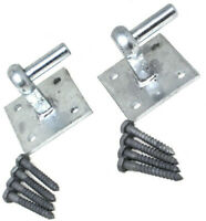 """2 x HEAVY DUTY HOOK ON SQUARE PLATE FOR HOOK + BAND HINGES 4"""" PLATE INC FIXINGS"""